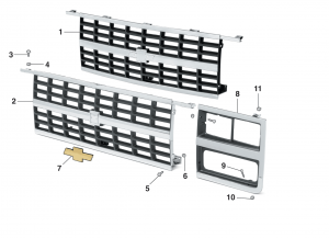 1989-91 Grille and Components - With Dual Headlight