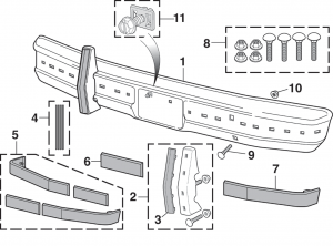 Front Bumper Components with Impact Strips