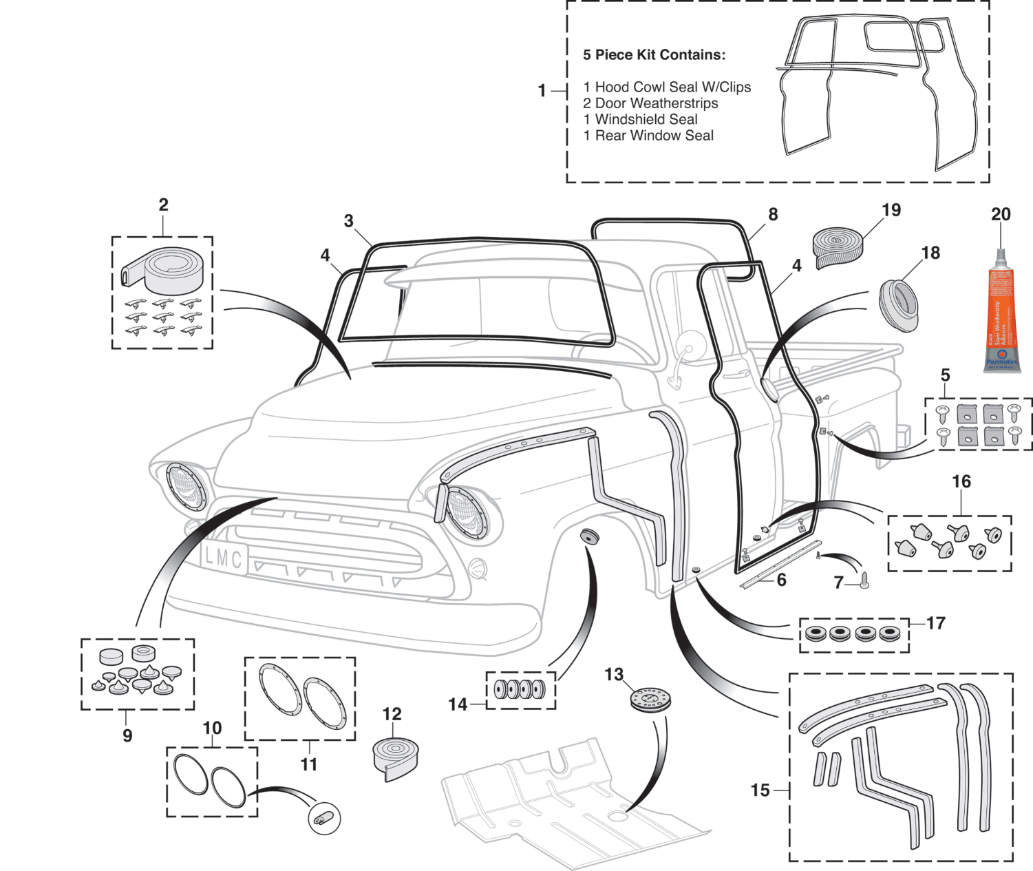 Exterior Rubber Kit and Components