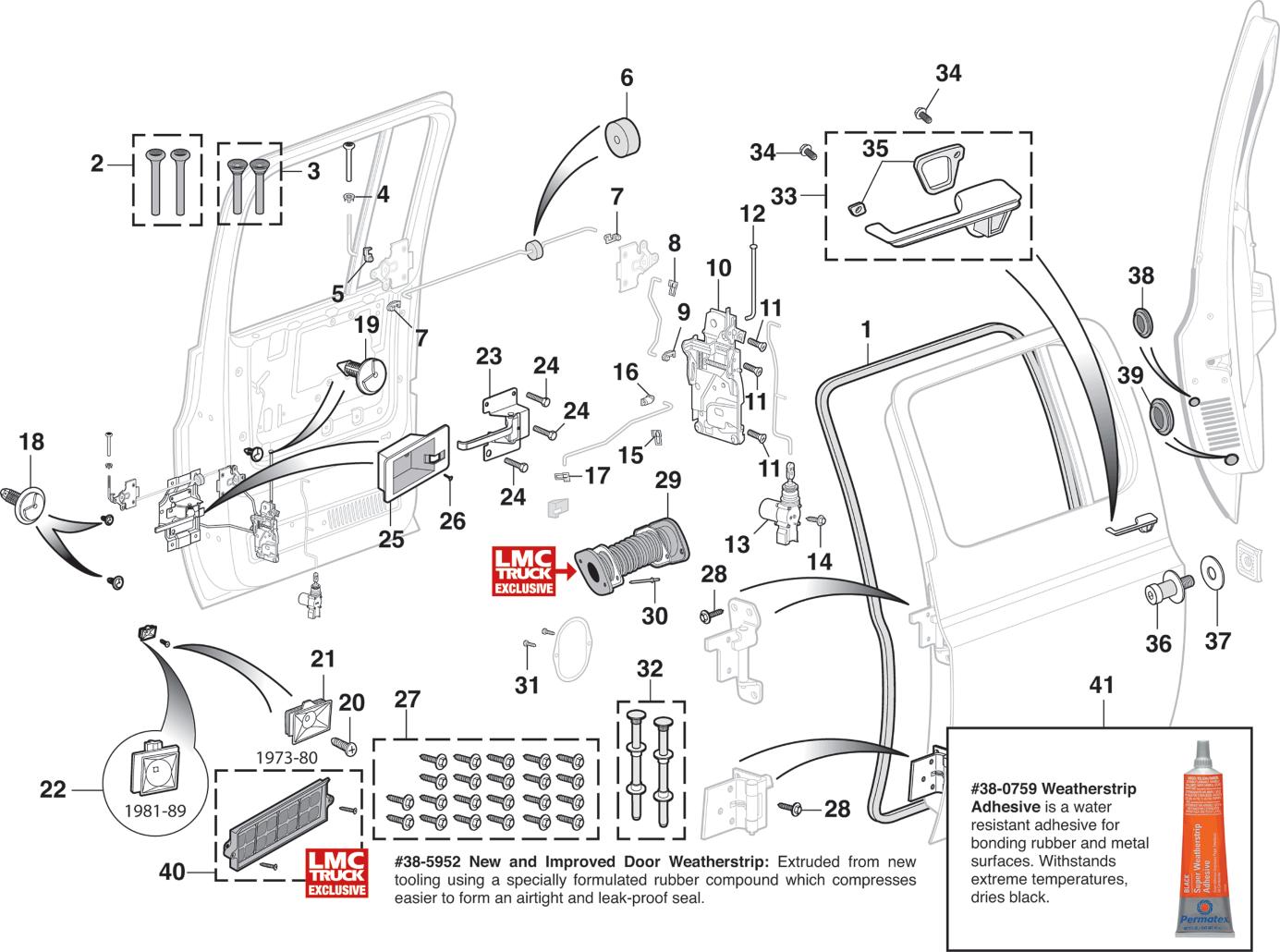 1973-91 Side Rear Door Components