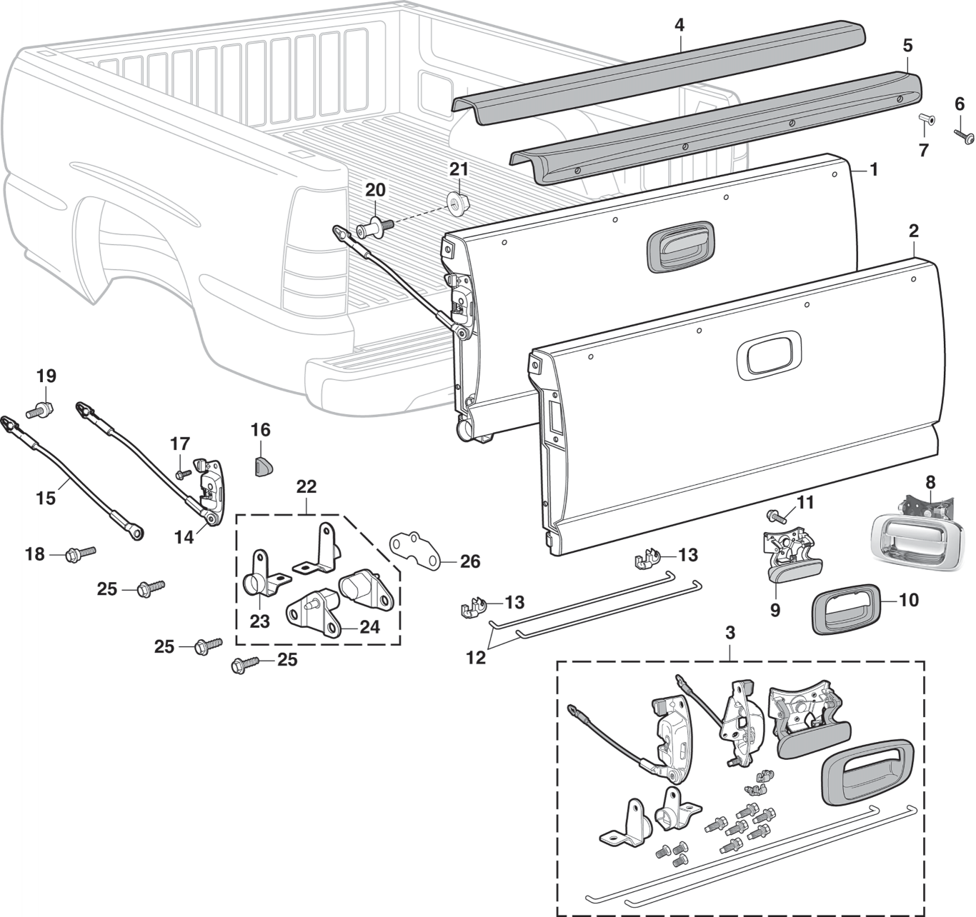 Tailgate and Components   Chevrolet Parts Schematics      LMC Truck
