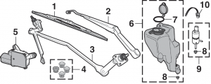 Front Windshield Wiper Components