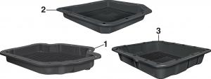 Black Transmission Pans with Drain Plug