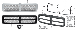 Grilles and Components - Models without Sport Package
