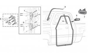 Door Hinges, Weatherstrip and Outer Door Handle