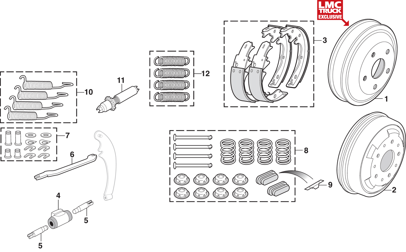 Front and Rear Drum Brake Components