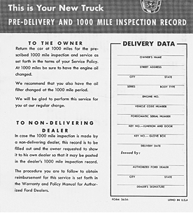 Pre-Delivery and Inspection Record