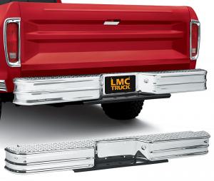 Chrome Rear Step Bumper - Diamond Tread