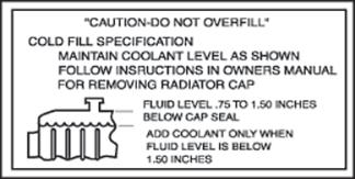 Radiator Caution Decals