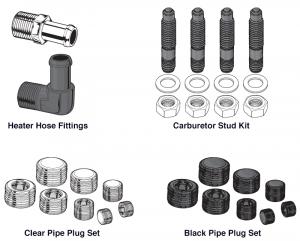 Heater Hose Fitting, Carburetor Stud Kits and Pipe Plugs