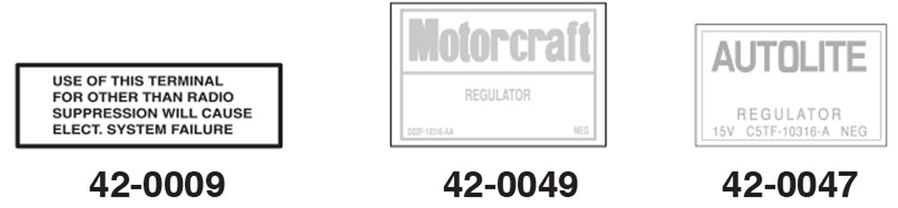 Voltage Regulator Decals