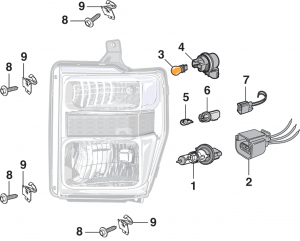 Combination Headlight Assembly Components