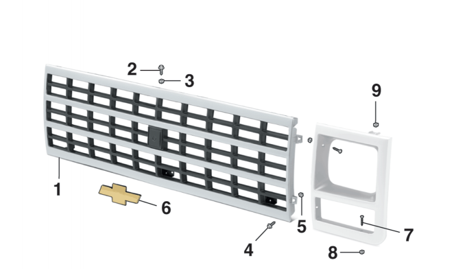 Grille Components - Single Headlights