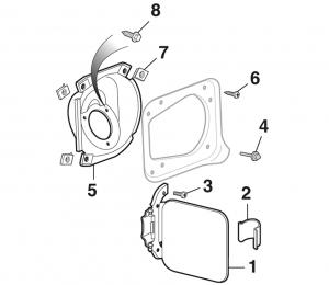 1979-89 Gas Tank Filler Door Components