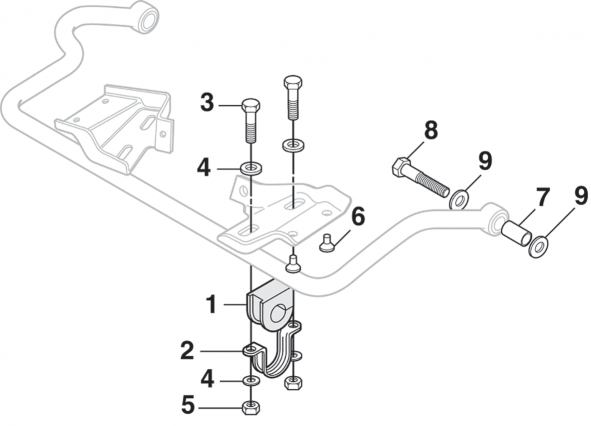 1973-87 Front Sway Bar Components - 4WD
