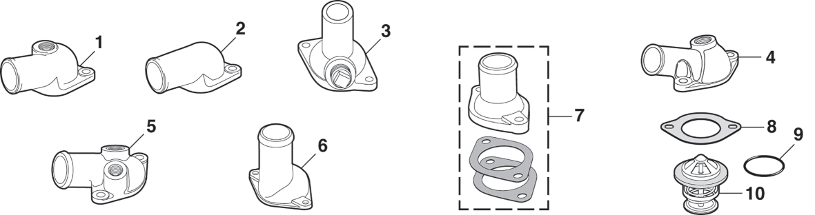 1973-89 Water Outlets and Thermostats