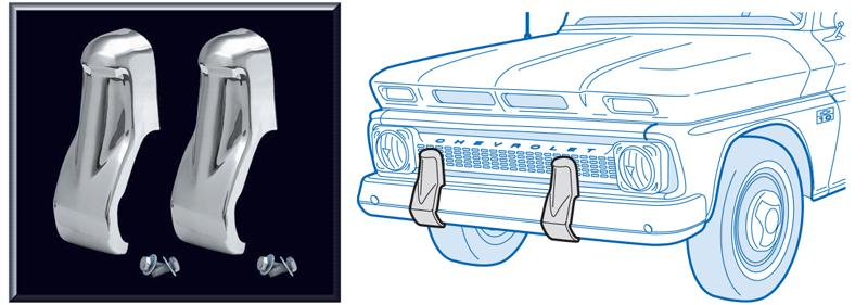 Chrome Front Bumper Guard Set