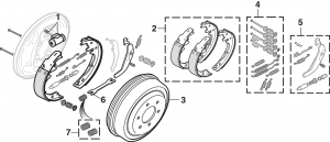 Front and Rear Drum Brake Components - 2WD