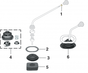 4-Speed Gear Shift Components and Shift Boots