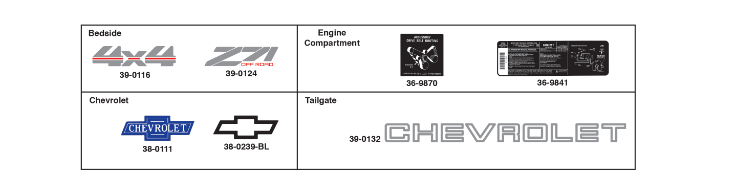 Decals for Chevrolet