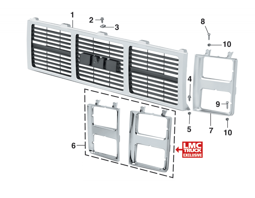 1985-87 Grille and Components - With Dual Headlights