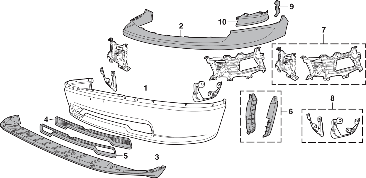 Front Bumper and Components - Models without Sport Package