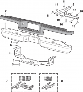 Rear Step Bumper Components - Models with Covered Hitch Plate