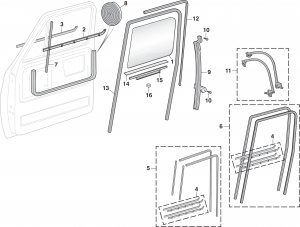 Front Door Glass and Components