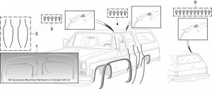 Wheel Arch Molding Kit, Drip Rail Molding and Door Edge Guard Set