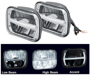 200MM LED Headlight Set with Accent