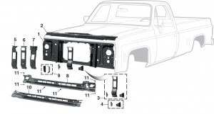 1973-80 Grille Mounting Components